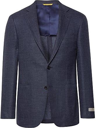 Canali Blue Kei Slim-fit Stretch-wool And Linen Blend Blazer - Blue