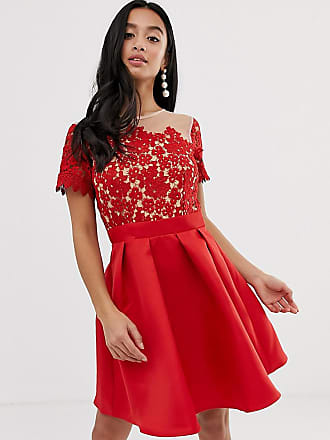a6b28f3160b2 Little Mistress Petite Kortärmad skaterklänning med detalj upptill - Röd