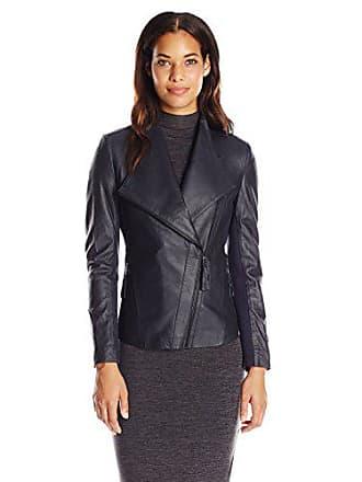 Via Spiga Womens Lightweight Leather Ponte Jacket, Navy Blue, Medium