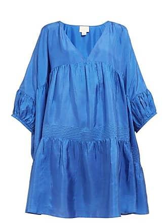 Anaak Airi Gathered Silk Satin Dress - Womens - Blue