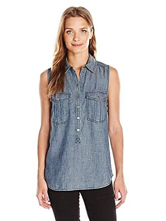 Trina Turk Womens Adrina Crosshatch Denim Sleeveless Top, Indigo, X-Small
