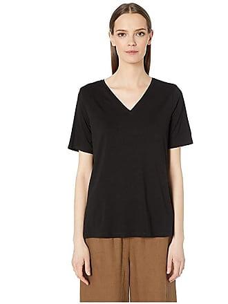 Eileen Fisher Tencel Jersey V-Neck Short Sleeve Top (Black) Womens T Shirt