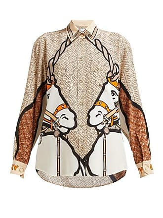 4e978914f0b8d Burberry Unicorn Print Silk Blouse - Womens - Beige Multi