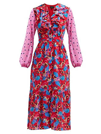Saloni Ginny Hydrangea Print Silk Crepe Midi Dress - Womens - Red Multi