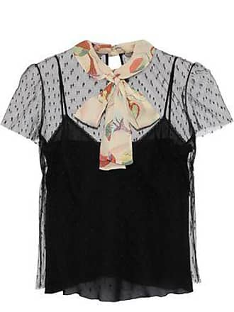 Red Valentino Redvalentino Woman Pussy-bow Printed Silk Georgette-trimmed Point Desprit Top Black Size 40