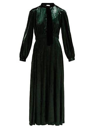 Raquel Diniz Armonia Tie Neck Velvet Dress - Womens - Dark Green