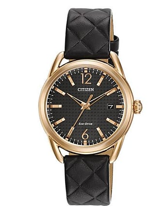 Zales Ladies Citizen Eco-Drive LTR Rose-Tone Strap Watch with Black Dial (Model: Fe6083-13E)