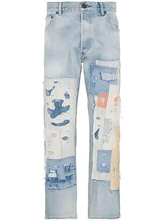 John Elliott + Co The Kane 2 distressed patch wide-leg jeans - Azul