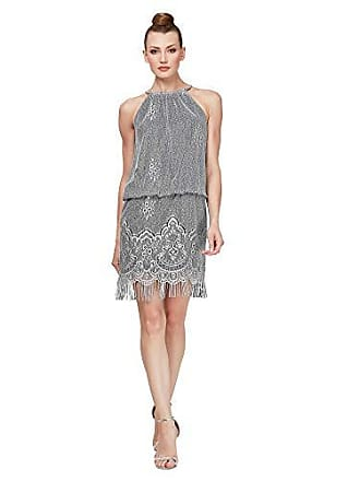 S.L. Fashions Womens Blouson Halter Crochet Dress, Silver, 8