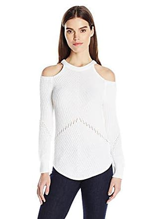 Splendid Womens Cut Out Cold Shoulder Long Sleeve Sweater, White, X-Large