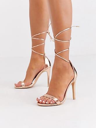 Glamorous Sandali con tacco allacciati alla caviglia oro rosa