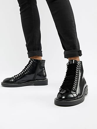 c7be5d453 Asos Amellie leather lace up chain ankle boots - Black