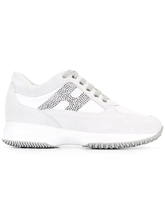Hogan studded logo lace up trainers - White