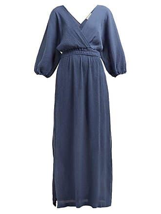 Mara Hoffman Nami Plissé Voile Maxi Dress - Womens - Blue
