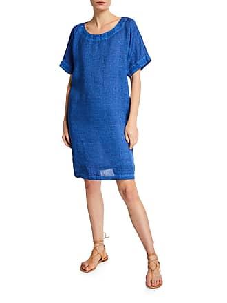 120% Lino Short-Sleeve Linen Dress w/ Pockets