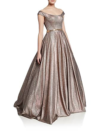 Jovani Metallic Off-the-Shoulder Short-Sleeve Ball Gown