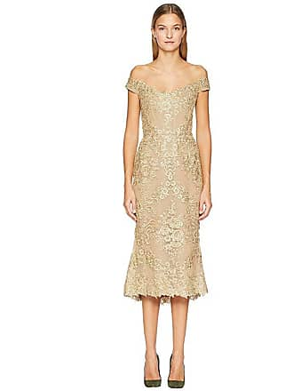 87f95f4e160 Marchesa Corded Lace Off Shoulder Cocktail Dress with 3D Sequin Roses  (Gold) Womens Dress