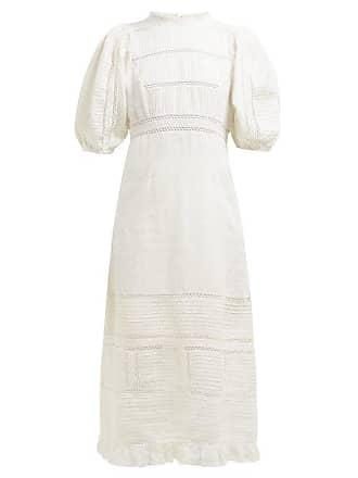 Sea New York Poppy Pintucked Linen And Cotton Blend Dress - Womens - Cream