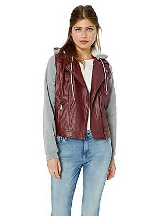 Yoki Womens Sherpa Lined Faux Leather Moto Jacket, Burgundy, Large