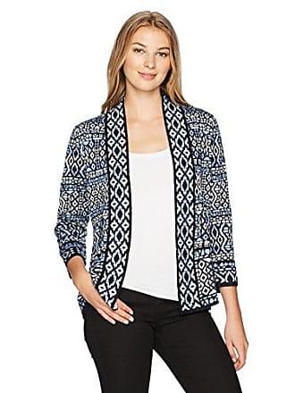 Ruby Rd. Womens Band-Collar Stripe Jacquard Sweater Cardigan, Sky Blue Multi, Medium