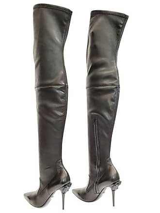 c2d3d1f0e46 Versace New Versace Palazzo Black Stretch Leather Thigh High Boots W   Medusa Heel 39 -
