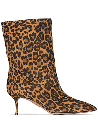Aquazzura Very Boogie 60mm leopard print boots - Marrom