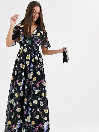 Little Mistress Tall floral kimono maxi dress-Multi