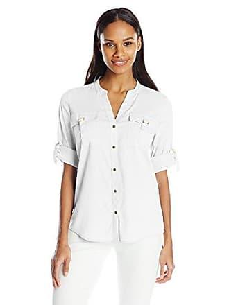 Calvin Klein Womens D-Ring Pocket Blouse, Soft White, X-Large