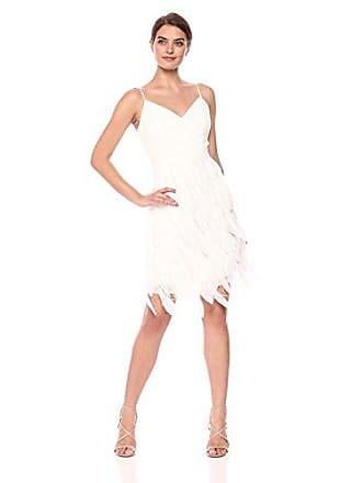 Aidan Mattox Womens Feathered Textured Dress, Ivory, 12