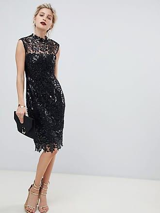 7b2592852fa6c Paper Dolls sequin lace midi pencil dress in black - Black
