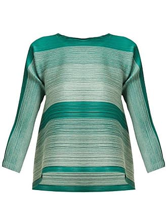 c43620ce20c Pleats Please Issey Miyake Log Bounce Striped Tech Pleated Tunic Top -  Womens - Green