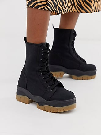 c1ccabd38 Asos Amber chunky lace up boots in black canvas - Black