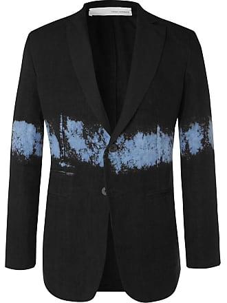 Isabel Benenato Black Slim-fit Dip-dyed Unstructured Linen Blazer - Black