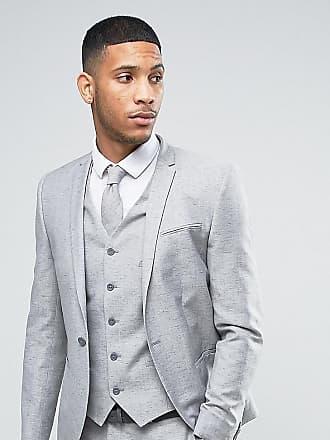 Noak Veste de costume de mariage coupe ajustée en lin moucheté - Gris 37276442694