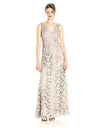 778f36c88a Vera Wang Womens Sleeveless V Neck Lace Gown with Scallop Detail