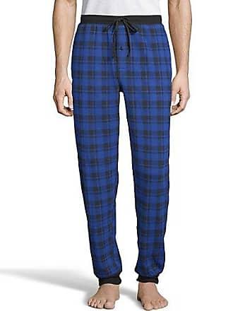 Hanes Mens Thermal Waffle Knit Jogger Pants Blue Plaid 2XL