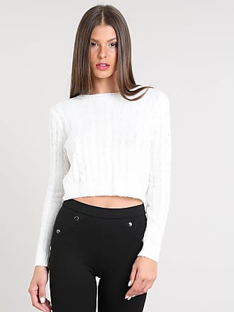 Basics Suéter Feminino Básico Cropped em Tricô Off White