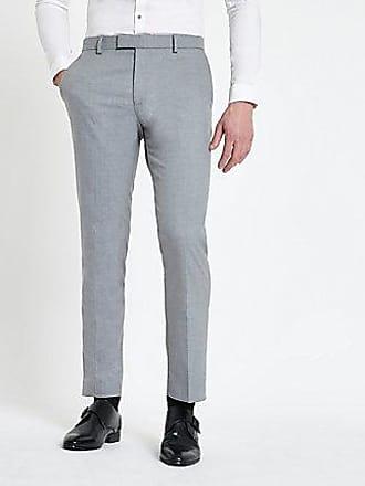 River Island Mens Grey textured skinny suit pants