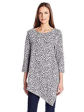 Joan Vass Womens Three Quarter Sleeve Asymmetrical Tunic, Leopard Print, 0