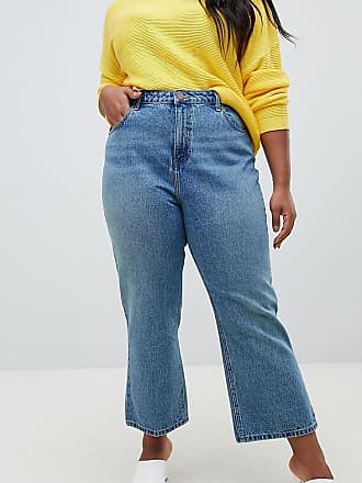 326bc9095407 Asos Curve ASOS DESIGN Curve - Recycled Egerton - Steife, kurz geschnittene  Jeans in mittelblauer