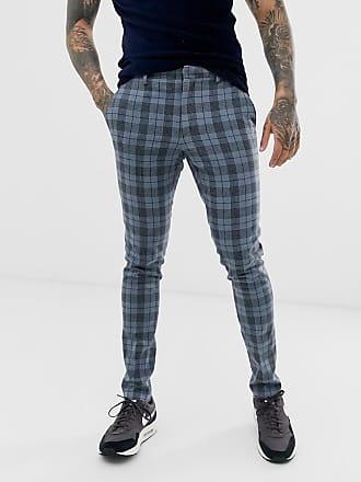 4a7c49002854bb Asos Pantaloni eleganti super skinny in misto lana blu a quadri - Blu