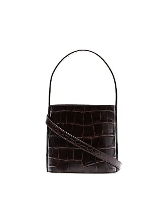 Staud chocolate brown Bisset croc print leather bucket bag - Marrom
