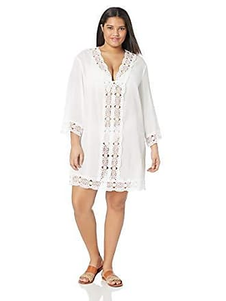 La Blanca Womens Plus Size Lace V-Neck Tunic Dress, White/Island Fare Print, 2X