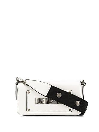 Love Moschino logo plaque crossbody bag - White