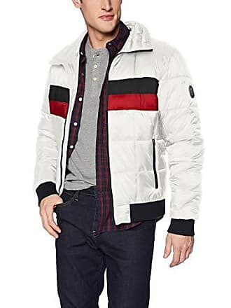 Tommy Hilfiger Mens Quilted Bomber Hoody Color Block, ice/Navy Small