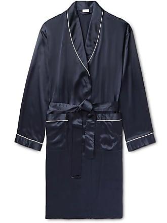 Zimmerli Piped Silk-satin Robe - Midnight blue