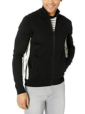 365a2e1d501dda French Connection Mens Lakra Block Knit Long Sleeve Zip Up Sweater,  Black/White Cap