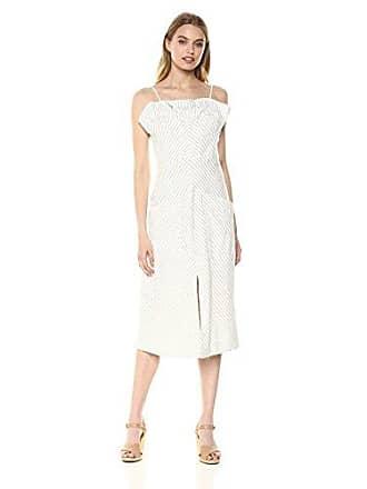Rebecca Taylor Womens Sleeveless Stripe Ruffle Dress, Blue Combo, 8