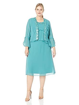 Le Bos Womens Embroidered Tulip Draped Jacket Dress, Aloe, 18