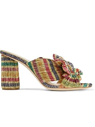 Loeffler Randall Penny Bow-embellished Striped Plissé-lamé Mules - Gold